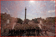 England celebrate Ashes win, Trafalgar Square, London.