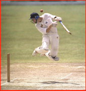 Michael Atherton hit by Curtly Ambrose ball, Guyana, West Indies.
