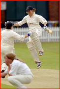 Cambridge Uni's Addie Bottomley celebrates beating Oxford Uni at Lord's.