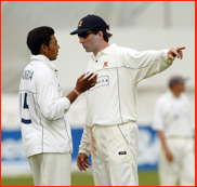 Essex captain Ronnie Irani has words with Danish Kaneria