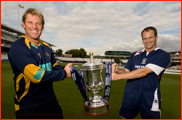 Shane Warne and Dale Benkenstein & the FPT trophy