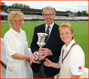Jo Chamberlain and Karen Smithies with Prime Minister John Major at Lord's.
