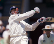 Dominic Cork hit, Perth Test, Australia.