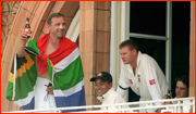 Allan Donald in SA flag after Lord's win.