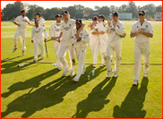 Celebrations on beating Kent in the County Championship