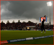Kieron Pollard catches Samit Patel, T20 semi-final, Rose Bowl, Southampton, England.