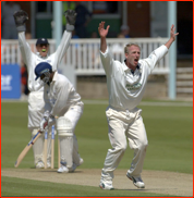 Matthew Fleming appeals for the lbw of Mark Alleyne