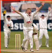Luke Wright appeals for the lbw of Shahriar Nafees