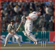 England's Paul Collingwood avoids a Rana Naved bouncer, Lahore Test, Pakistan.