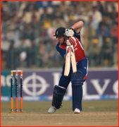 Paul Collingwood bats, Lahore ODI, Pakistan.