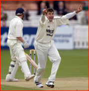 Justin Kemp appeals for the lbw of Jamie Dalrymple