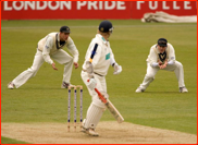 Andrew Strauss catches James Adams as Ben Hutton looks on