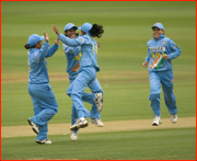 India celebrates a wicket during the ODI v England at Lord's.
