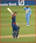 England's Claire Taylor celebrates during her 156 not out in the Lord's ODI v India.