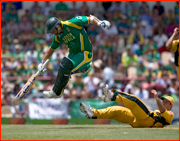 Andre Nel in past Ricky Ponting.