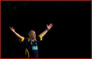 Bowler Billy Taylor celebrates the wicket of Ed Smith
