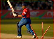 Ravi Bopara is 'bowled' by an Andrew Hall free hit