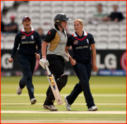 Bowler Katherine Brunt catches Rachel Priest, England v New Zealand, Lord's.