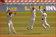 Snell, Gidman & Batty celebrate Ramprakash out