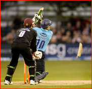 Luke Wright breaks his bat in the FT20 match v Somerset
