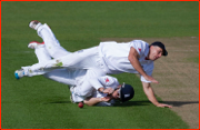 Sub Stewart Walters & Ian Bell collide, Cardiff Test, 2011