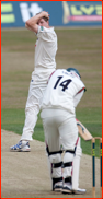 David Balcombe looks back as Greg Smith is not lbw