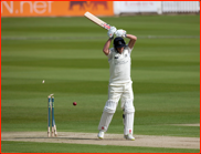 Neil Dexter is bowled by Jade Dernbach, Lord's, 2012