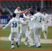 Bowler Toby Roland-Jones celebrates, v Surrey, 2012