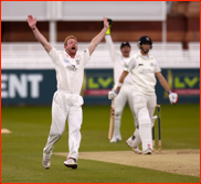 Bowler Paul Collingwood appeals, Lord's, 2012