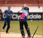 Middlesex's Denly is bowled by Graeme McCarter, 2012