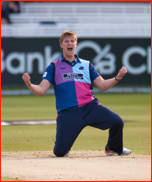 Ollie Rayner celebrates the lbw of Hamish Marshall, 2012
