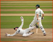 Ben Brown fielding off Adam Voges, Trent Bridge, 2012
