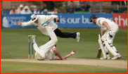 Ollie Rayner catches Ed Joyce (+ umpire Trevor Jesty) 2012