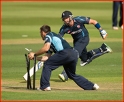 Darren Stevens is run out by Sussex's Michael Yardy, 2012