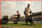 Kevin Pietersen exercises prior to the 2013 Lord's Test v Aus
