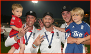 Family celebrations after winning the Ashes, Oval, 2013