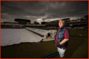 Head Groundsman, Mick Hunt, keeps an eye on the weather, Lord's.
