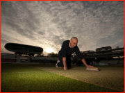 MCC's Adrian Morgan prepares the Test wicket at sunrise. Lord's, London.
