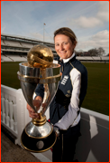 England captain Charlotte Edwards at Lord's with the Women's World Cup.