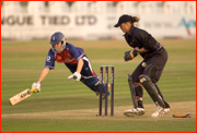 Lydia Greenway in past Rebecca Rolls, first T20 match, England v NZ, Hove.