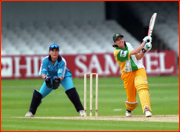 Australia's Lisa Keightley scoring the first century at Lord's by a woman.