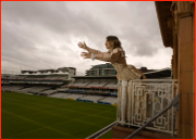 Claire Duttson rehearses on the England balcony for Romeo & Juliet at Lord's.