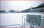 Snow covers Lord's Cricket Ground.