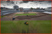 Pitch repairs at Lord's after being used for the Olympic Archery, 2012