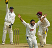 Mushtaq Ahmed appeals for the lbw of Gerard Brophy