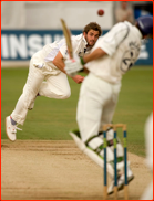 Ryan McLaren avoids a Liam Plunkett bouncer