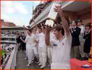 Captain Paul Prichard lifts the NatWest Trophy, Lord's, 1997