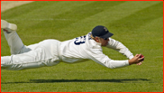 Slip fielder Matt Prior catches Ben Phillips