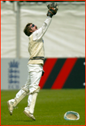 Jack Russell catches Kevin Pietersen