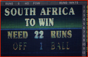 South Africa needing 21 runs off 1 ball to beat England, World Cup, 1992.
